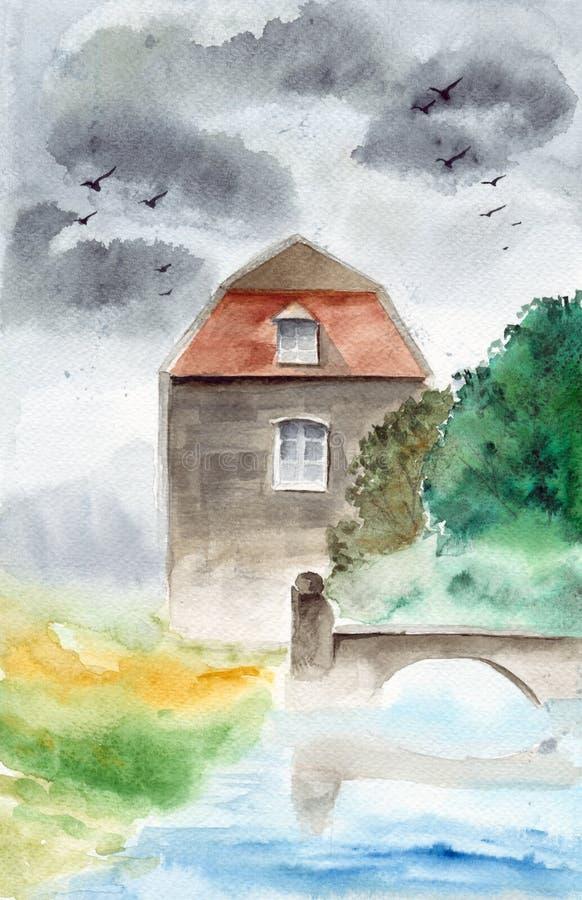 Waterverfhuis met brug royalty-vrije illustratie