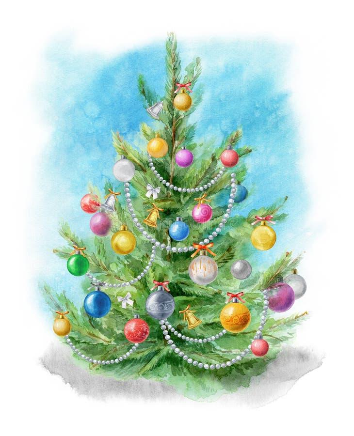 Waterverfillustratie: Kerstboom met ballen op een blauwe achtergrond wordt verfraaid die Malplaatje voor het ontwerp van affiches royalty-vrije illustratie