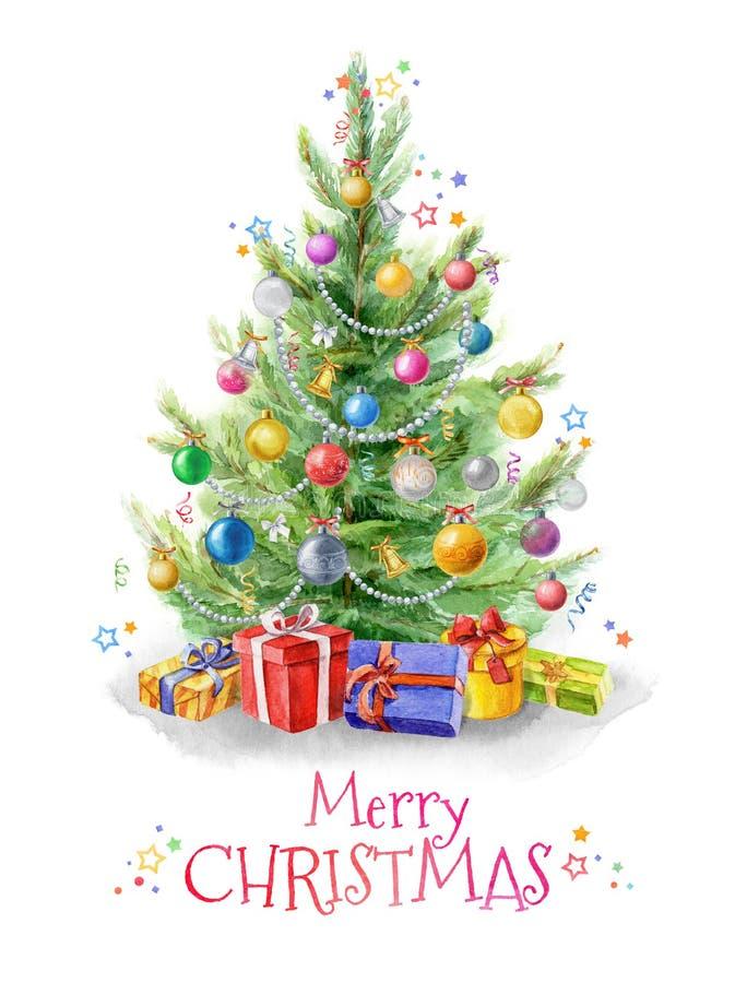 Waterverfillustratie: Kerstboom met ballen wordt verfraaid die Giften onder de Kerstboom Malplaatje voor het ontwerp vector illustratie