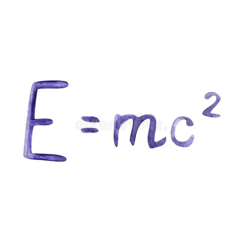 Waterverfillustratie met formule wordt getrokken die De beroemde formule E mc2 Formule die de gelijkwaardigheid van massa uitdruk royalty-vrije illustratie
