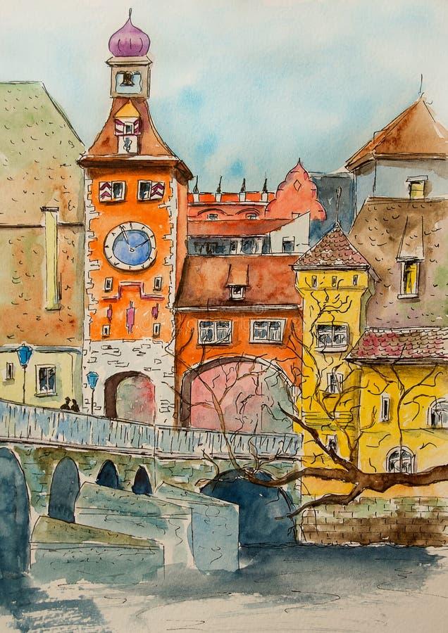 Waterverfillustratie met leuke huizen Hand getrokken Europese oude gebouwen De stadslandschap van de waterverfschets stock illustratie