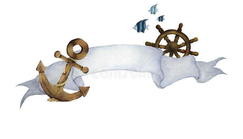 Waterverfillustratie met lint voor tekst en zeevaart Anker, Stuurwiel en vissen stock illustratie