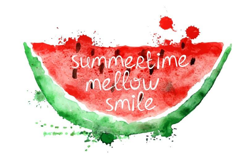 Waterverfillustratie met plak van watermeloen royalty-vrije illustratie
