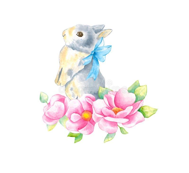 Waterverfillustratie met weinig konijntje en roze bloemenanemoon en bladeren Mooie konijn en bloemen op een witte achtergrond royalty-vrije stock fotografie