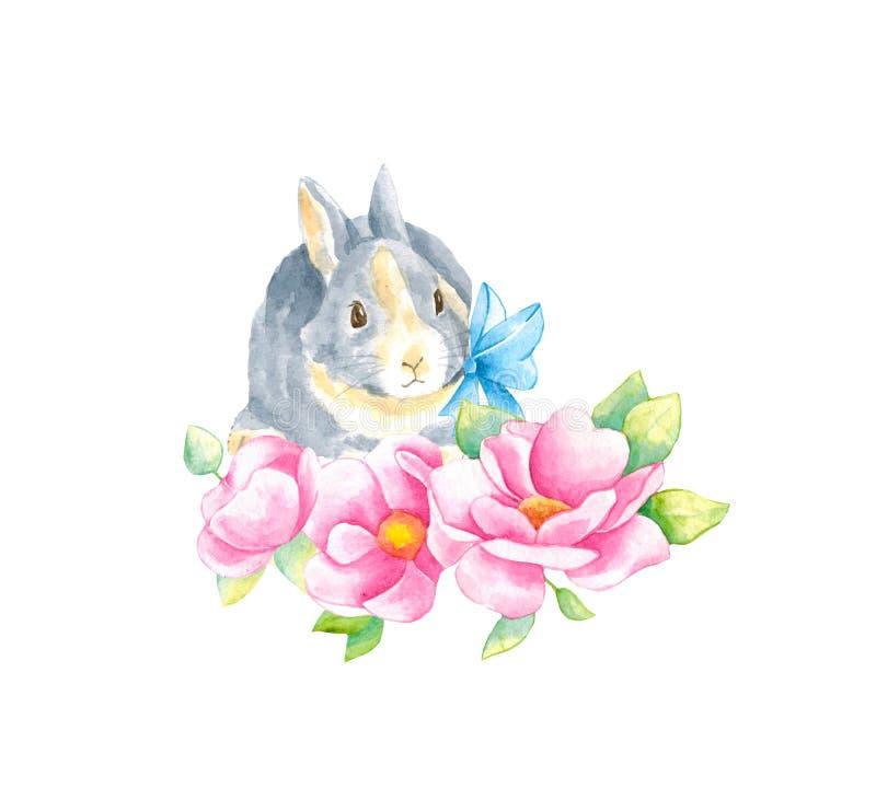 Waterverfillustratie met weinig konijntje en roze bloemenanemoon en bladeren Mooie konijn en bloemen op een witte achtergrond stock foto's