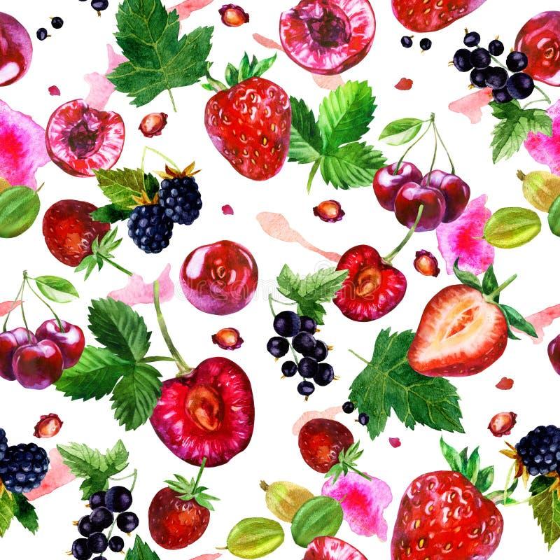 Waterverfillustratie, patroon Bessen op witte achtergrond Kersen, aardbeien, bessen, braambessen, kruisbessen, roze royalty-vrije illustratie