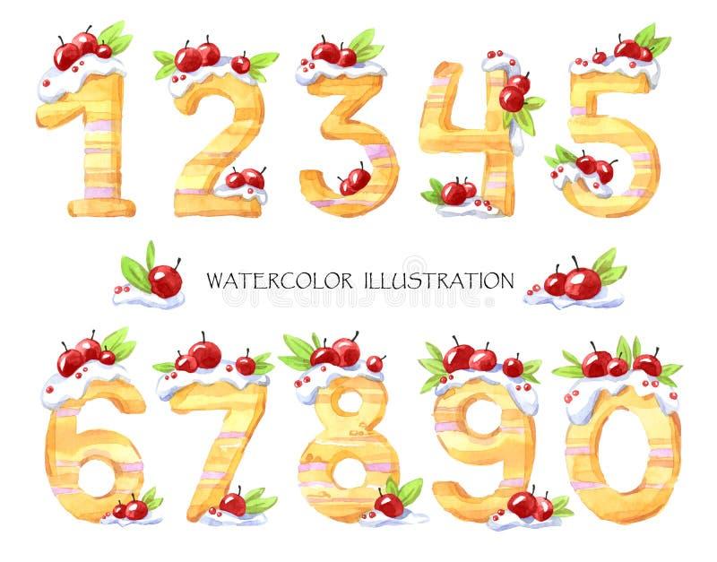 Waterverfillustratie van aantallen van nul tot negen Zoete smakelijke wiskundige symbolen Reeks van decoratieve cake met royalty-vrije illustratie