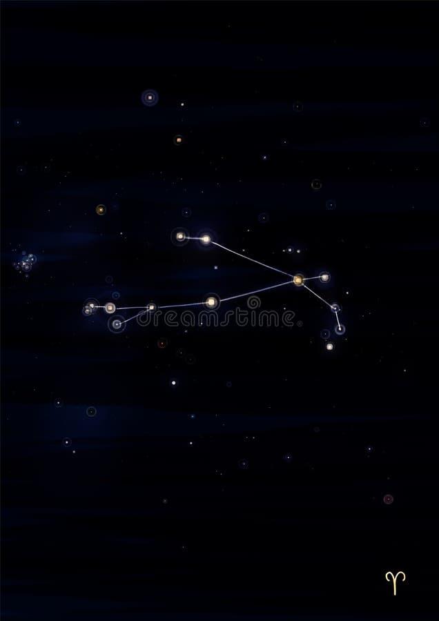 Waterverfillustratie van Aries Constellation stock afbeelding