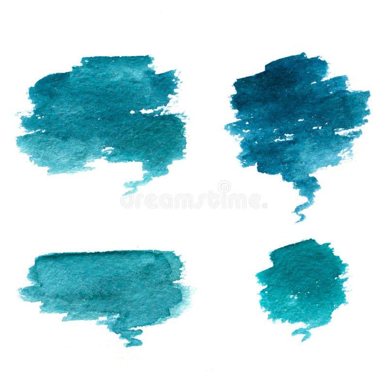 Waterverfillustratie van blauwe wolken vector illustratie