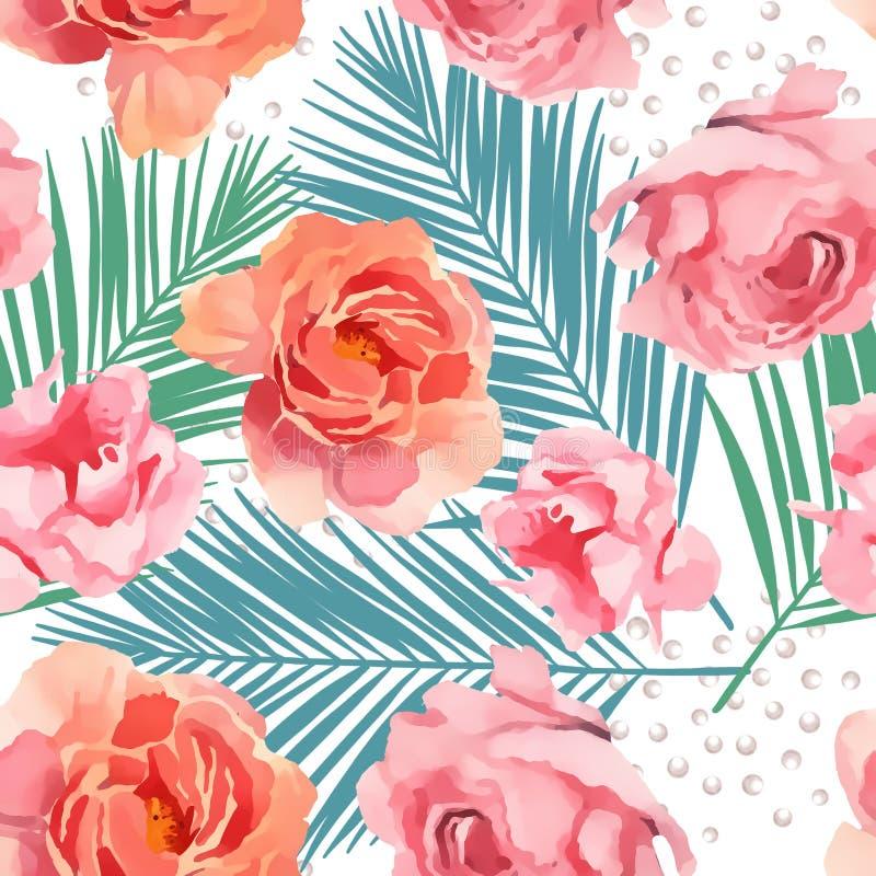 Waterverfillustratie van bloem roze pioen op witte achtergrond stock illustratie