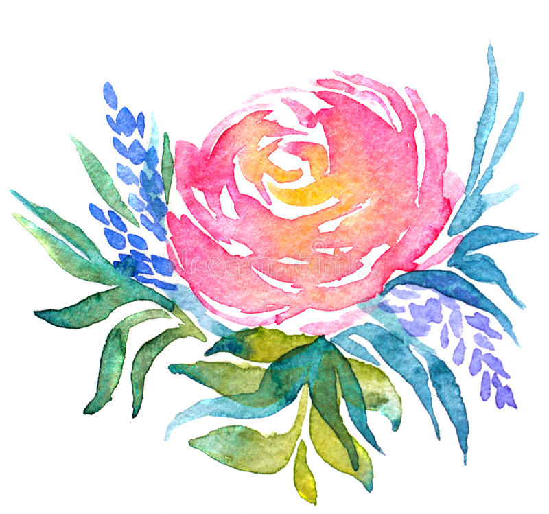Waterverfillustratie van bloemen royalty-vrije illustratie