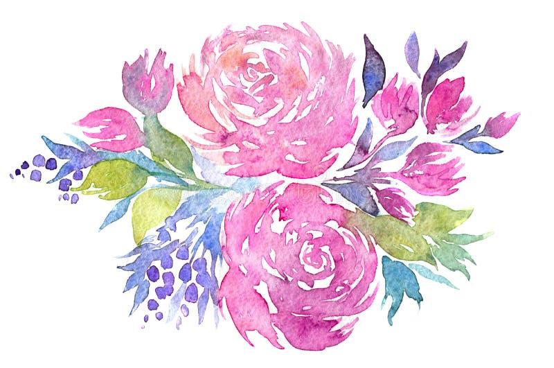 Waterverfillustratie van bloemen stock illustratie
