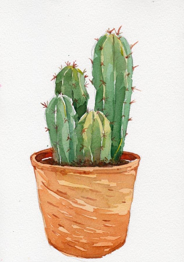 Waterverfillustratie van cactus in pot royalty-vrije illustratie