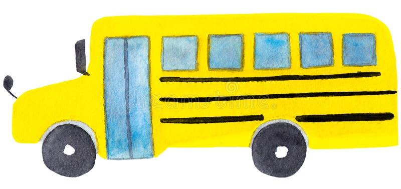 Waterverfillustratie van de gele klassieke die schoolbus op witte achtergrond wordt geïsoleerd stock illustratie