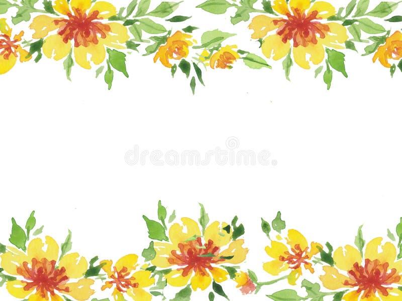 Waterverfillustratie van de gele prentbriefkaar van het bloemenkader stock illustratie