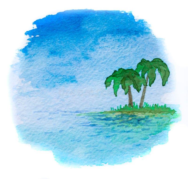 Waterverfillustratie van een overzees landschap royalty-vrije illustratie