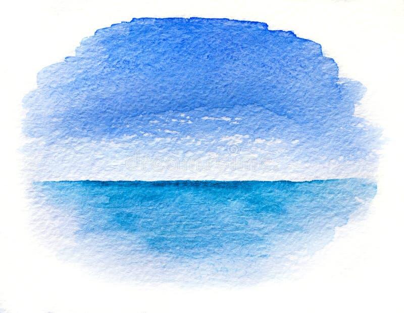 Waterverfillustratie van een overzees landschap stock illustratie
