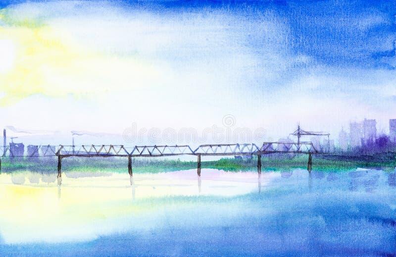 Waterverfillustratie van een spoorwegbrug over een rivier op een achtergrond van wolkenkrabbers Op de achtergrond, schoorstenen e stock illustratie