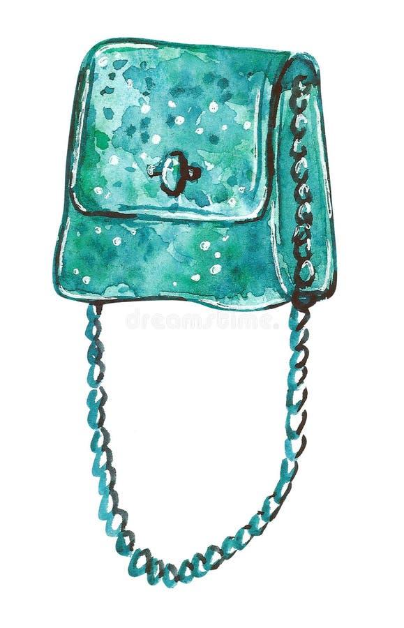 Waterverfillustratie van een zak met een lange ketting in turkooise kleur royalty-vrije illustratie