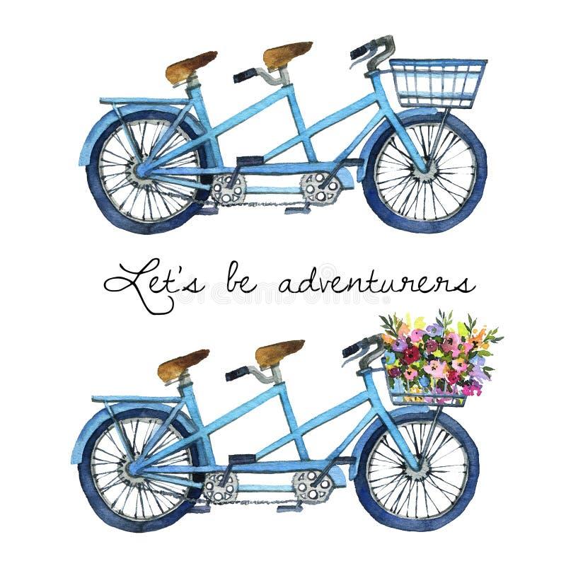 Waterverfillustratie van fietsen achter elkaar royalty-vrije stock afbeeldingen