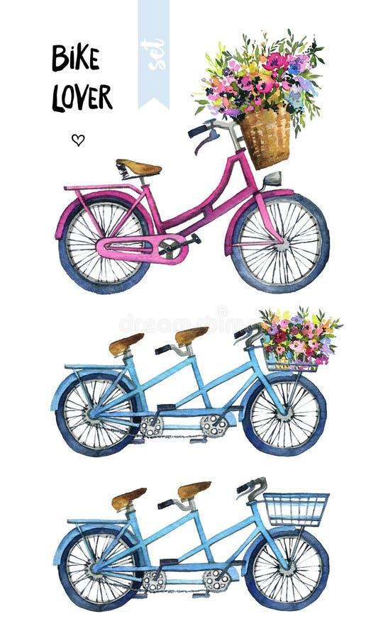 Waterverfillustratie van fietsen met bloemen royalty-vrije stock afbeeldingen