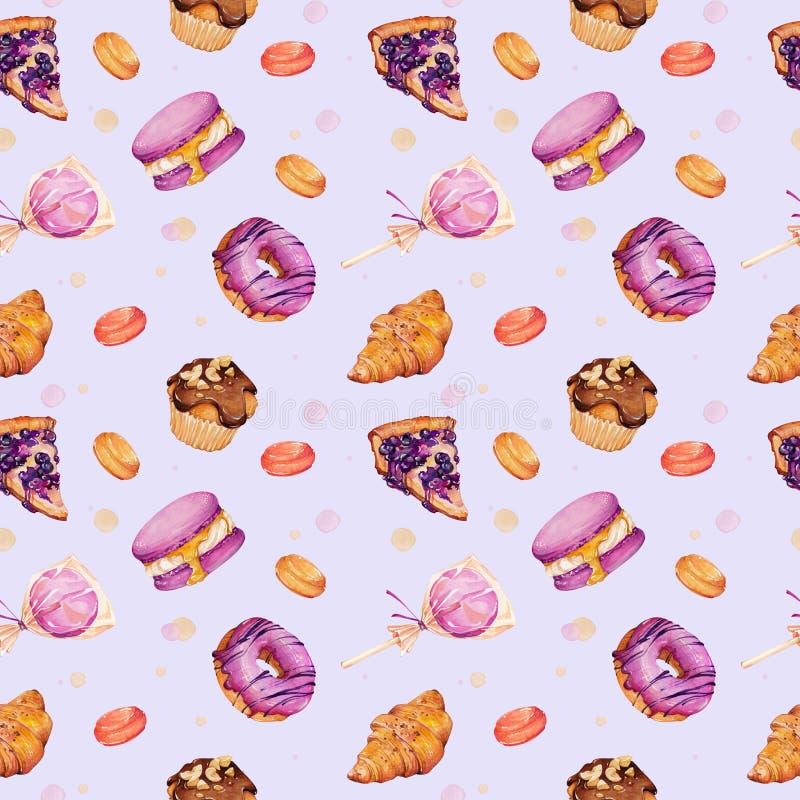 Waterverfillustratie van gebakjes en snoepjes vector illustratie