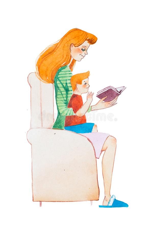 Waterverfillustratie van gemberfamilie Jonge moeder die een boek lezen aan haar zoonszitting op haar overlapping vector illustratie