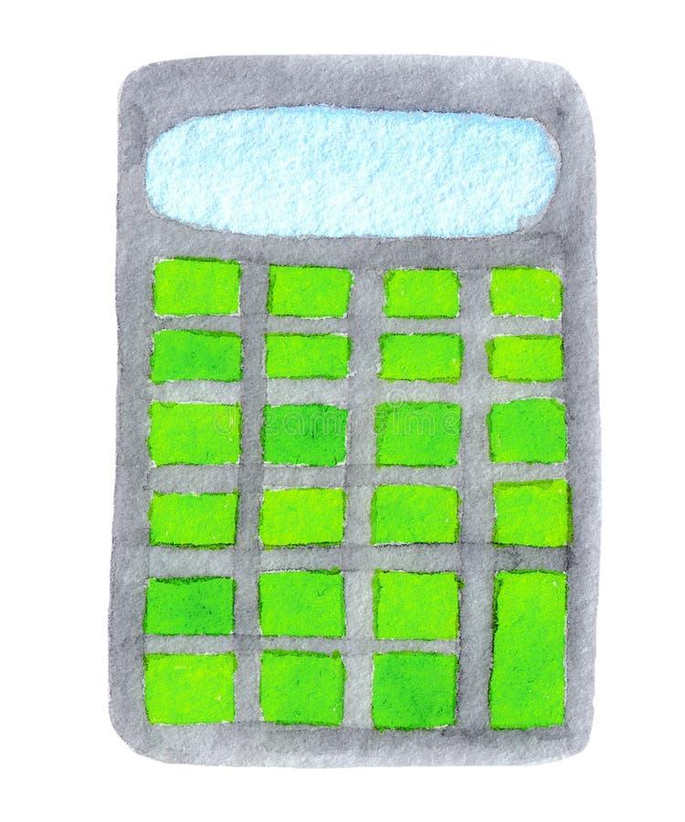 Waterverfillustratie van grijze calculator met groene die knopen op witte achtergrond wordt geïsoleerd royalty-vrije illustratie