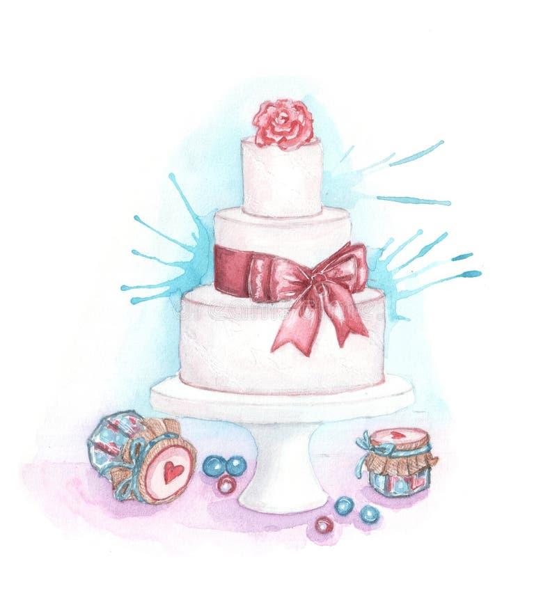 Waterverfillustratie van huwelijkscake en bloemen vector illustratie