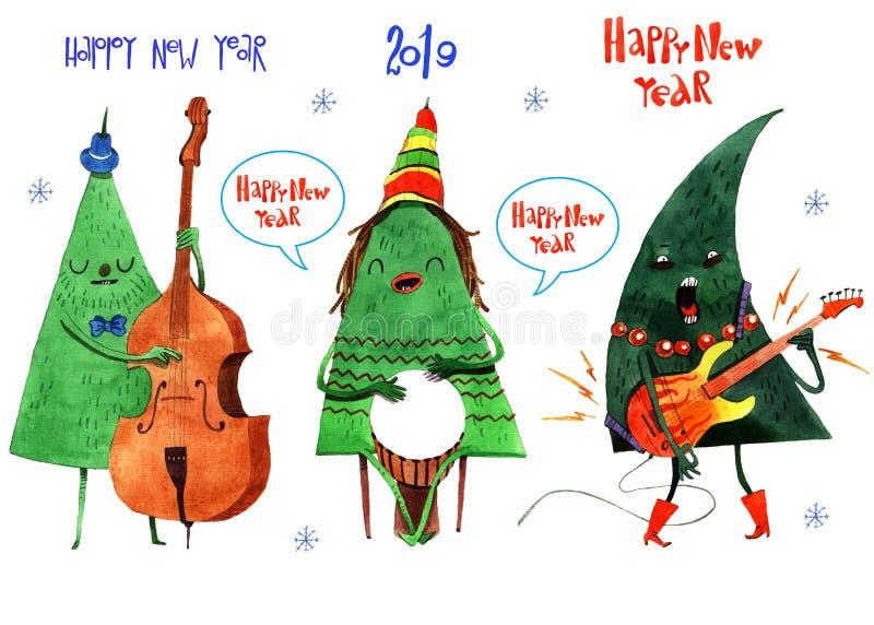 Waterverfillustratie van Kerstmis en nieuwe jaarboom, achtergrond, prentbriefkaar, kopbal, gelukwens, Gelukkig Nieuwjaar 2019 De  vector illustratie