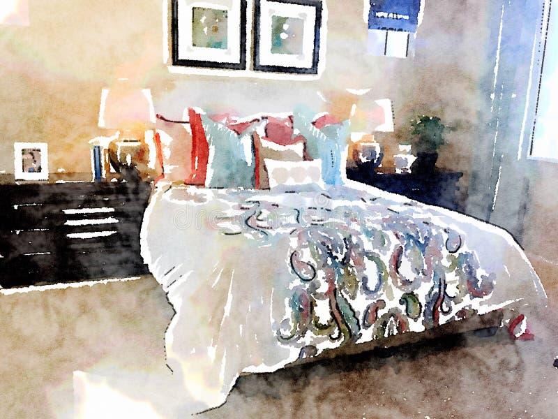 Waterverfillustratie van moderne slaapkamer met bed en homeware decoratie vector illustratie