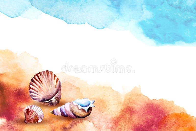 Waterverfillustratie van overzeese shells op een strand vector illustratie
