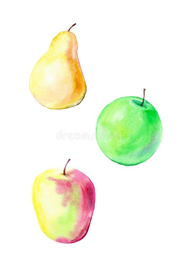 Waterverfillustratie van rood Apple, groene Apple en peer Patroon op witte achtergrond wordt geïsoleerd die royalty-vrije illustratie