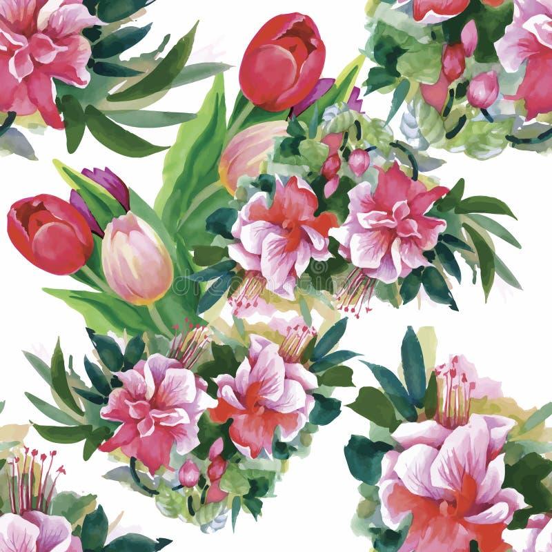 Waterverfillustratie van Tulpenbloemen, naadloos patroon stock illustratie