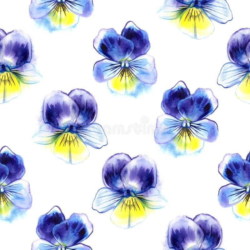 Waterverfillustratie van Violette bloemen Naadloos patroon Naadloze achtergrond van mooi viooltje stock illustratie