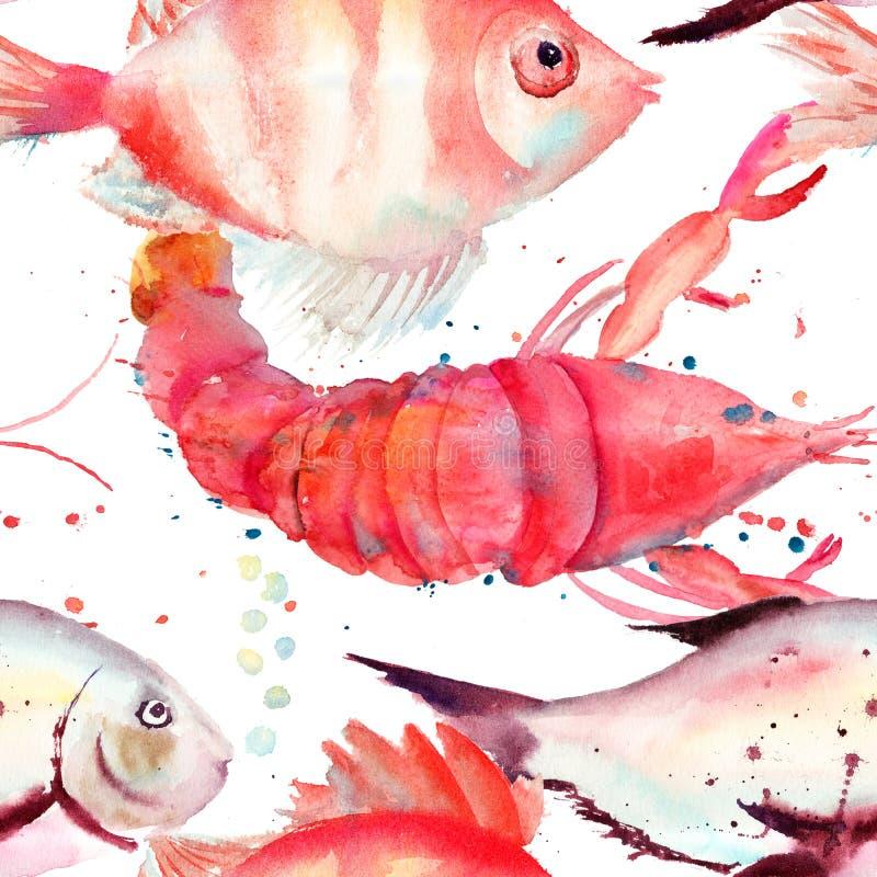 Waterverfillustratie van zeekreeft en vissen stock illustratie