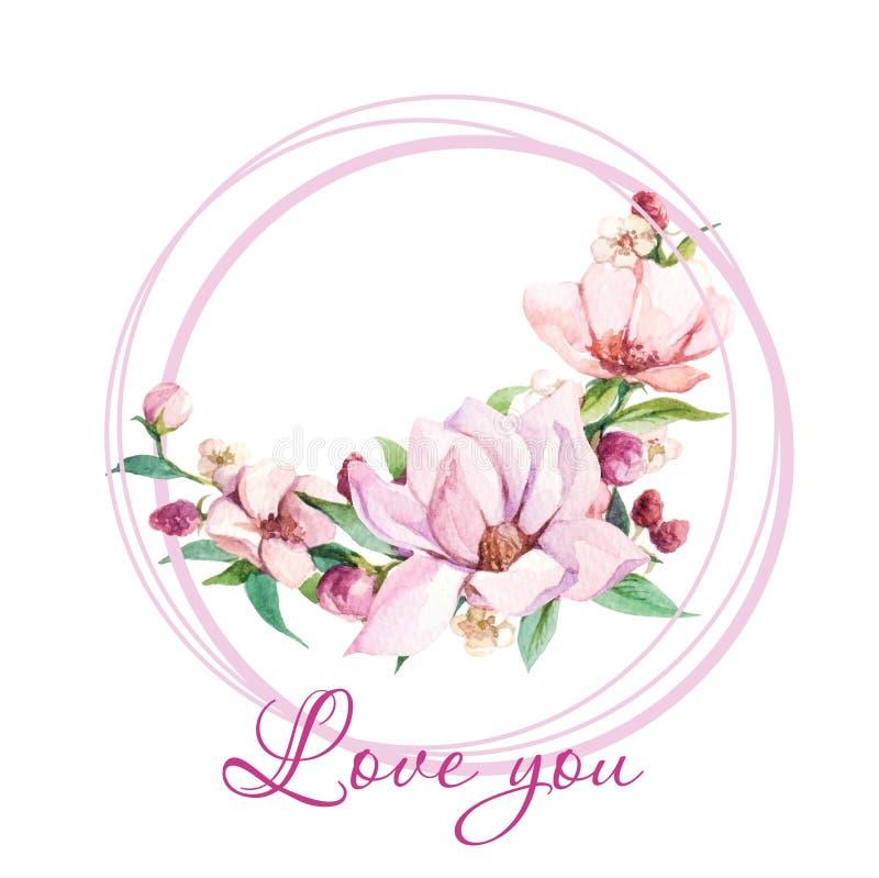 Waterverfillustraties met magnoliabloem en de woorden 'Liefde u ' stock illustratie