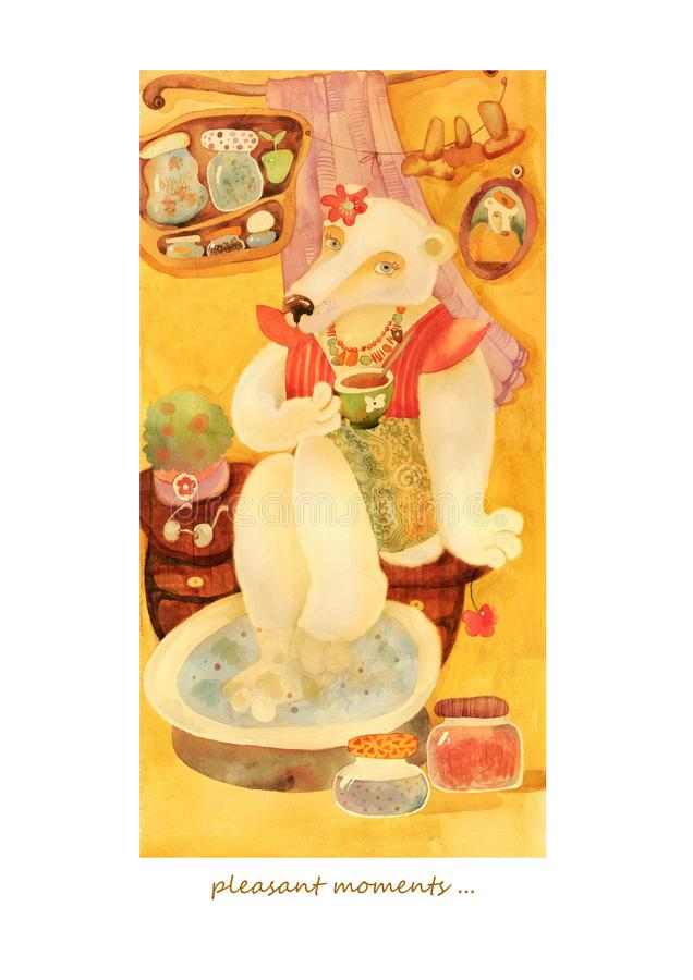 Waterverfkaart met beermeisje royalty-vrije stock afbeeldingen