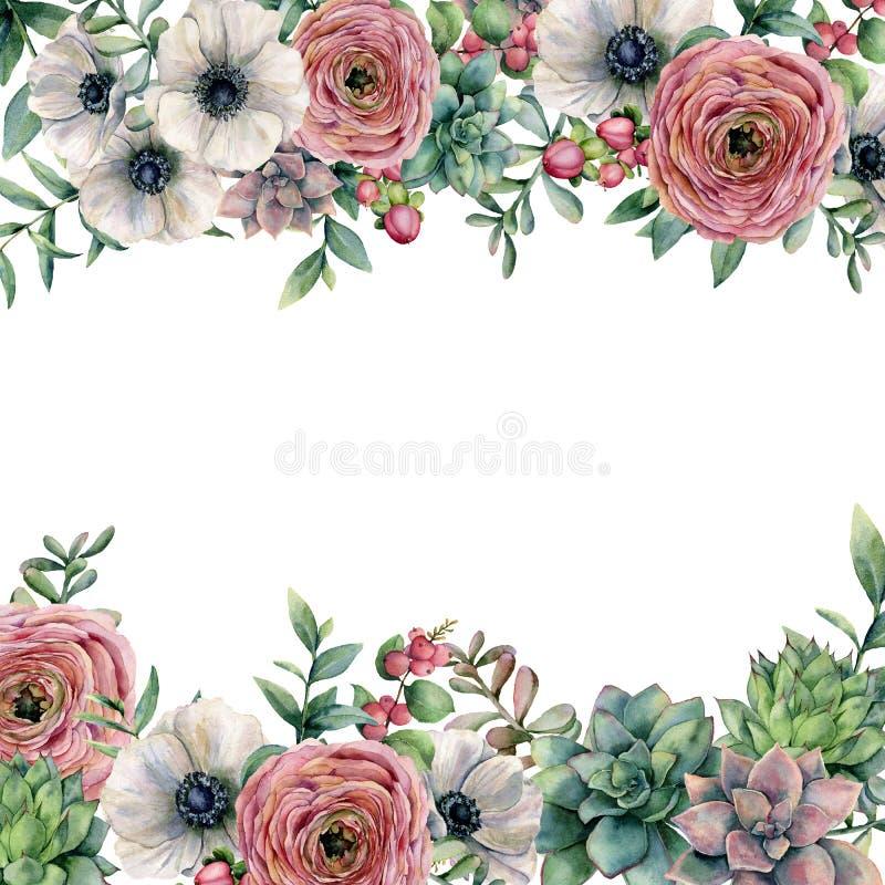 Waterverfkaart met bessen en bloemen De hand schilderde ranunculus, anemoon, succulente, rode bes en eucalyptusbladeren stock illustratie