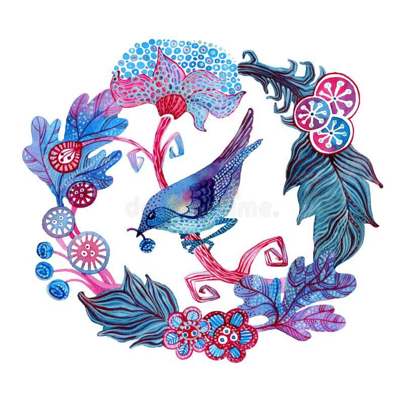 Waterverfkaart met bloemen en vogel stock illustratie