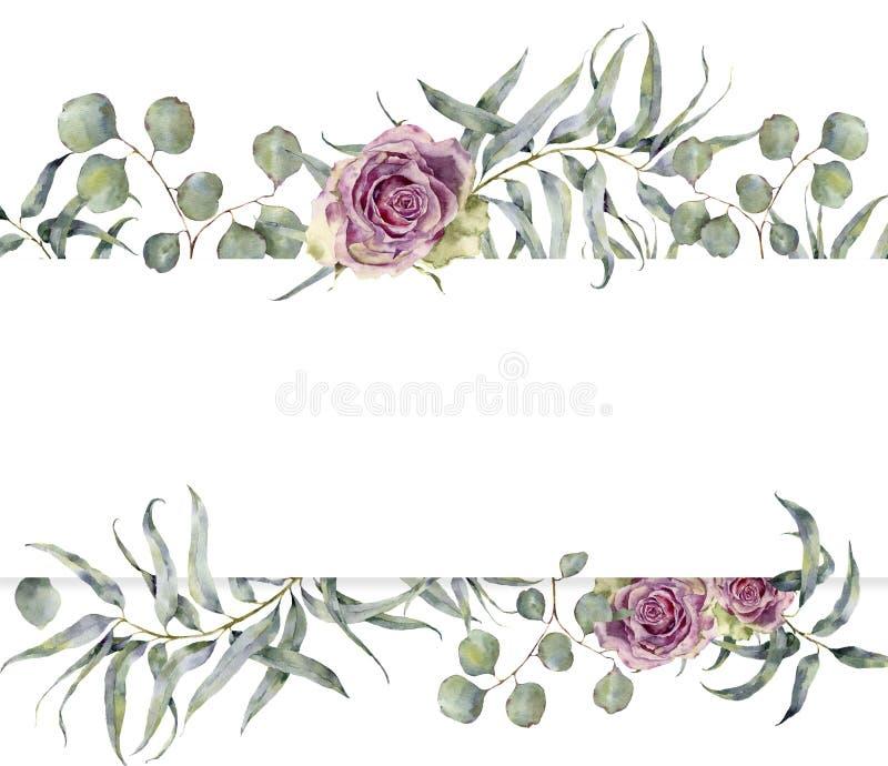 Waterverfkaart met eucalyptustak en rozen De hand schilderde bloemenkader met ronde bladeren van zilveren dollar vector illustratie