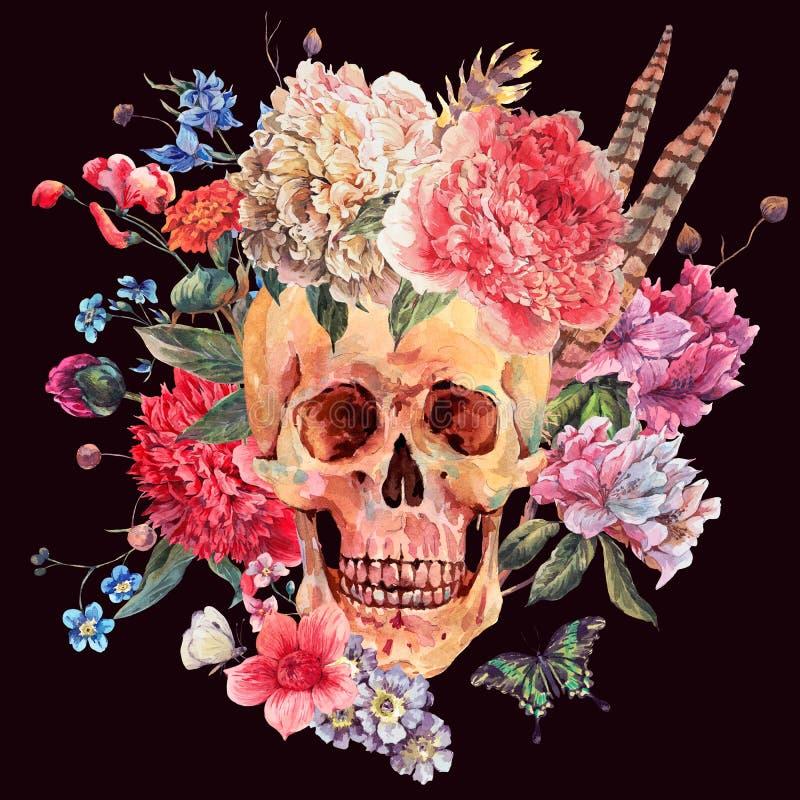 Waterverfkaart met schedel en roze pioen vector illustratie