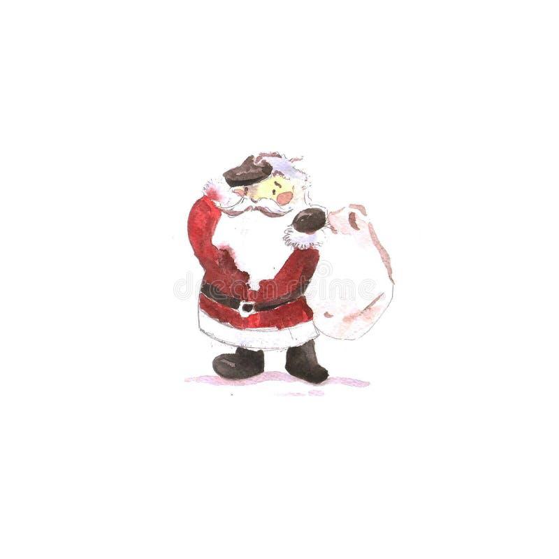 Waterverfkaart Nieuwjaar ` s en Kerstmis Santa Claus royalty-vrije illustratie
