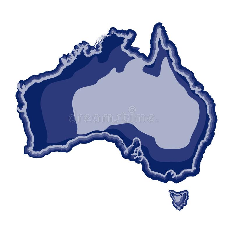 Waterverfkaart van Australië stock illustratie