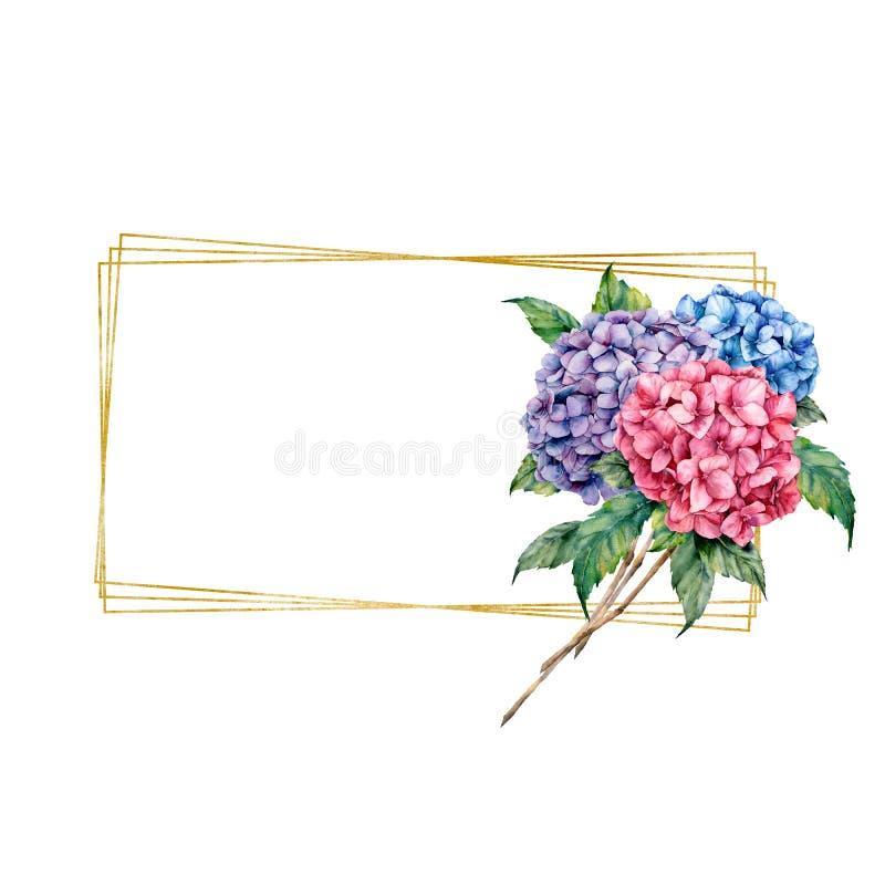 Waterverfkader met bloemenboeket Hand getrokken etiket met hydrangea hortensia, bladeren en takken die op witte achtergrond wordt royalty-vrije illustratie