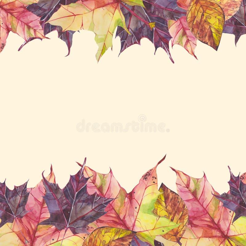 Waterverfkader met de herfstbladeren op beige achtergrond stock illustratie