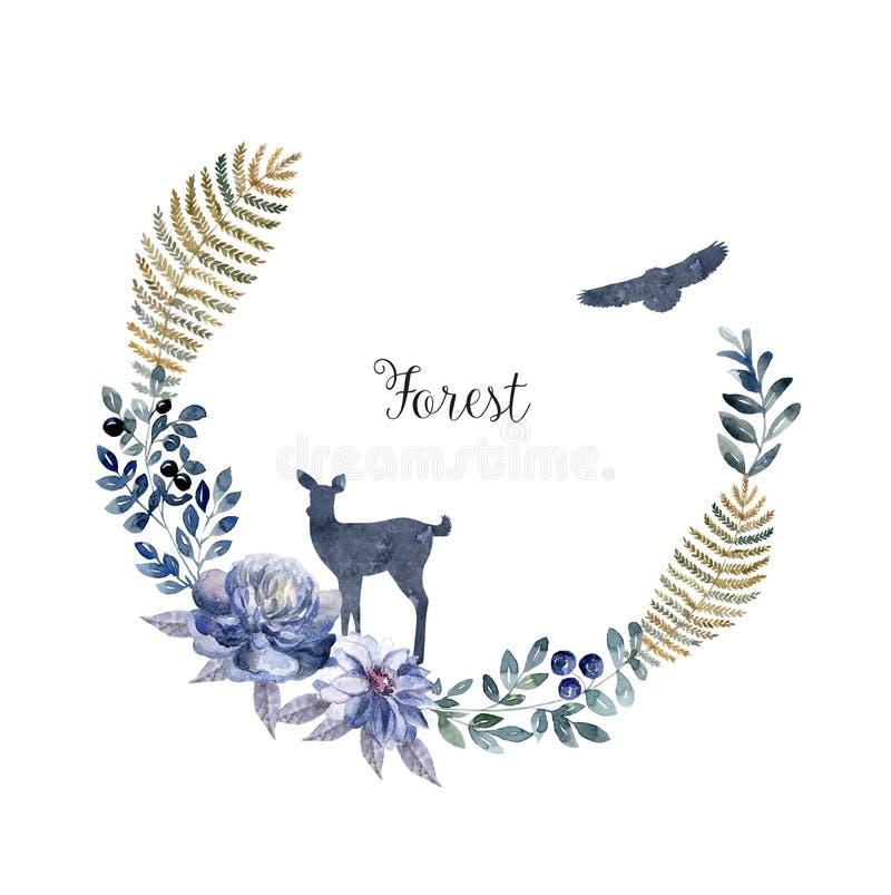 Waterverfkader met dieren en bloemen Boskaart royalty-vrije illustratie