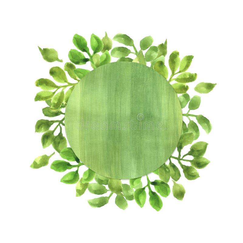 Waterverfkader met Groene Bladeren stock afbeelding
