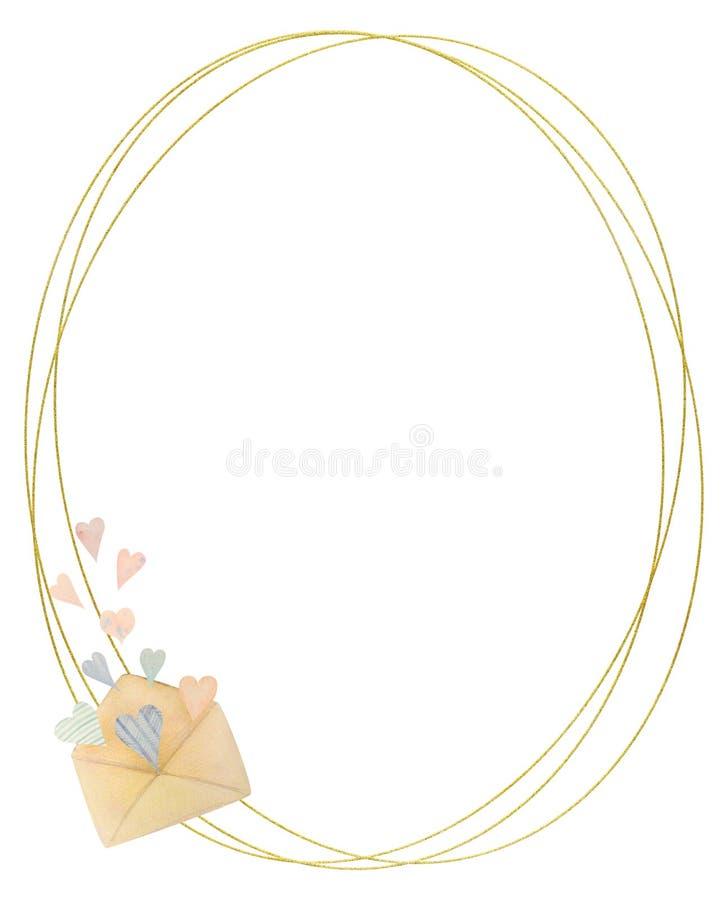 Waterverfkader met tulpen Getrokken door hand Ideaal voor embleem, huwelijksuitnodigingen, kaarten, affiches vector illustratie
