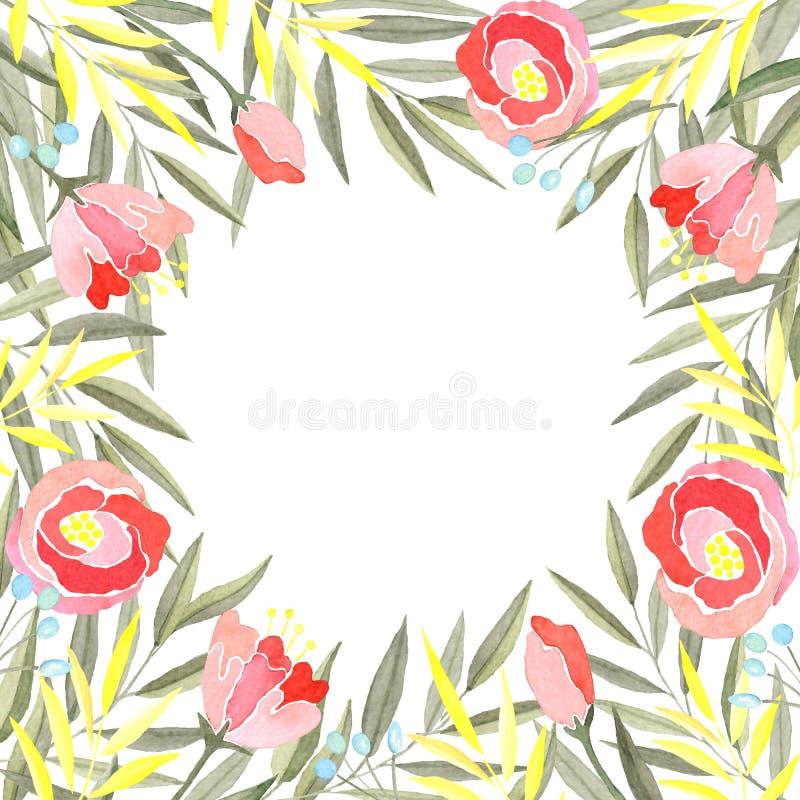Waterverfkader van takken met groene en gele bladeren, bloemen en bessen vector illustratie